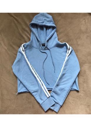 Синее худи,кофта,толстовка с лампасами на рукавах