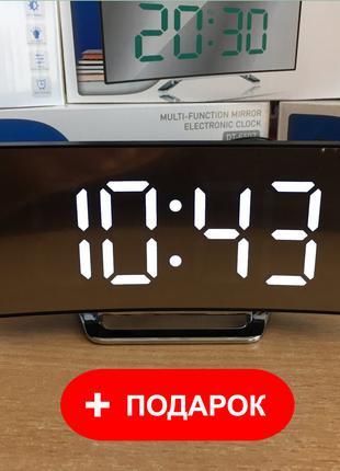 Электронные настольные зеркальные LED часы DT-6507 (белые цыфры)