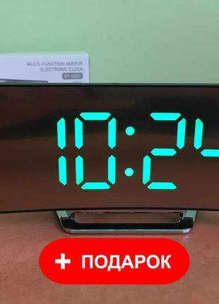 Электронные настольные зеркальные LED часы DT-6507 Green(зеленый)