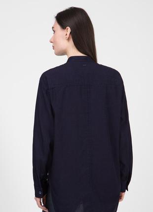 Рубашка льняная темно синяя женская свободная без воротника