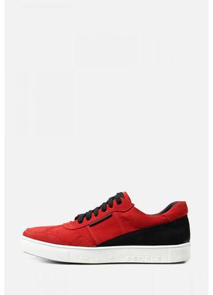 Легкие мужские кеды красного цвета на белой подошве