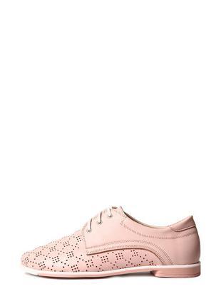 Розовые туфли из кожи с перфорацией