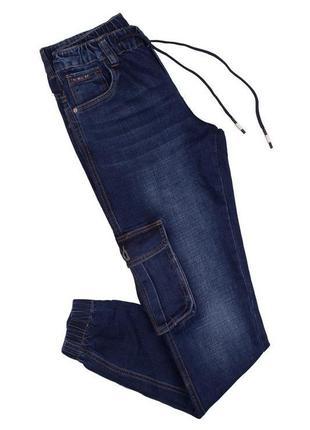 Мужские синие джинсы с накладными карманами