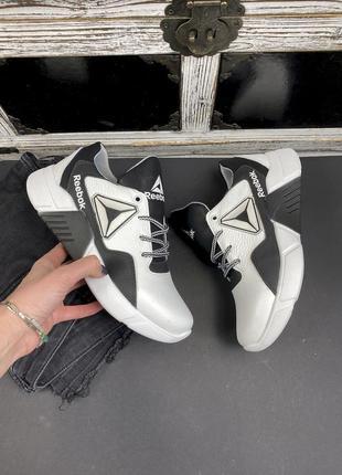 Подростковые кроссовки кожаные весна/осень белые-черные
