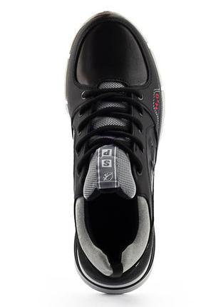 Подростковые кроссовки кожаные весна/осень черные