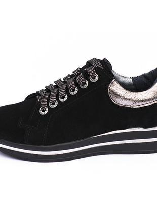 Кроссовки замшевые черные