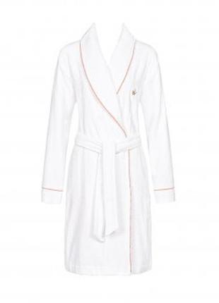 Мягкий пушистый махровый халат, коттон, белый с розовым, вышив...