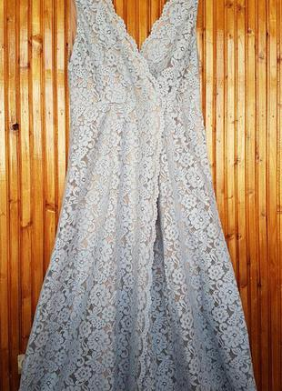 Шикарное вечернее кружевное платье в пол h&m