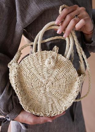 Вязанная соломенная сумка клатч