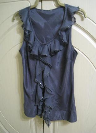 Женская блуза майка натуральный шелк на р.48, uk12