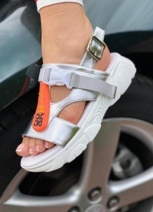 Босоножки на платформе, сандали, серебро, металлик, белые спорт