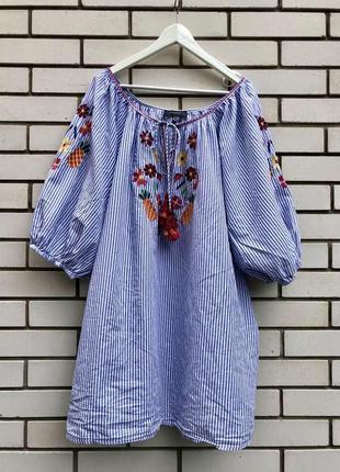 Блуза реглан в полоску,вышивка,вышиванка,этно бохо стиль,больш...