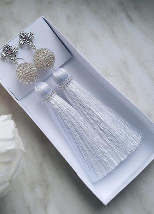 Серьги кисти, сережки кисточки, сережки для невесты, свадебные...