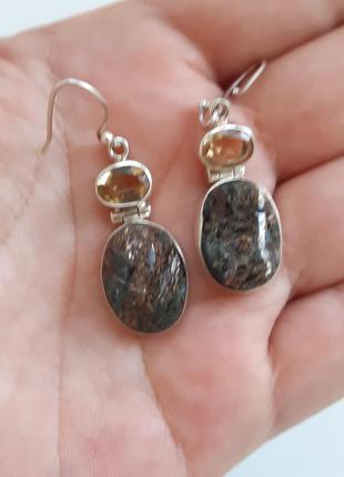 Серебряные серьги с жёлтыми камнями
