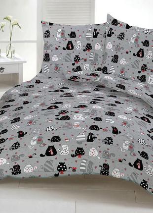 Комплект постельного белья полуторный котики мурзики