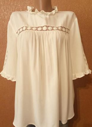 Новая блузка с кружевом молочного цвета размер 16 marks&spence...