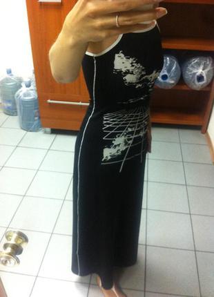 Черное платье-сарафан в пол