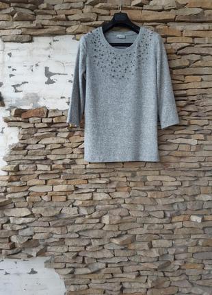 Эффектный тёплый с бусинами пуловер большого размера