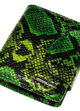 """Женский кошелек butun 550-008-074 кожаный зеленый """"под рептилию"""""""