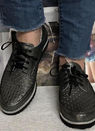 Женские кожаные летние туфли мокасины на шнурках с перфорацией Va