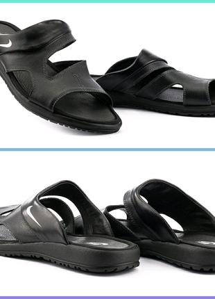 Шлепанцы Nike мужские кожаные Черные