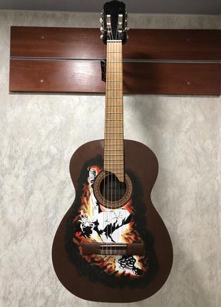 (3223) Гитара с Художественной Росписью Волк