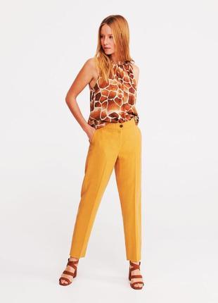 Качественные женские желтые прямые брюки со стрелками высокая ...