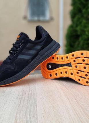 Мужские кроссовки adidas zx 500 black&orange