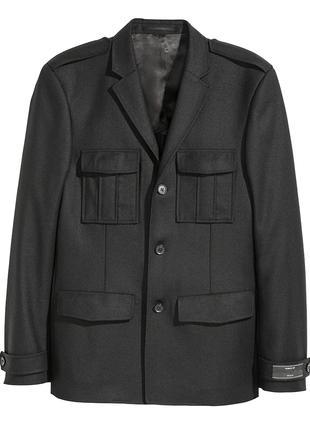 Шерстяной пиджак H&M 100% шерсть мужской жакет S/M куртка френч
