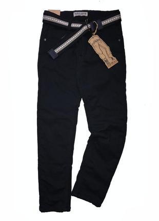 Утеплённые классические брюки т. синие, чёрные р. 134-164