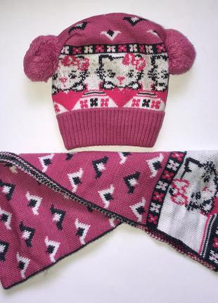 Комплект для девочки шапка+шарф р. 48-50