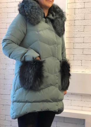 Женский зимний пуховик max mara р. 48-50