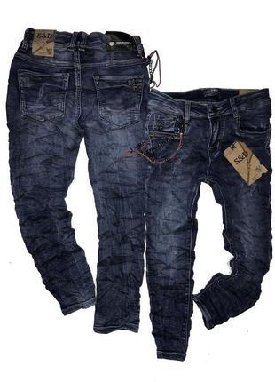 Стильные джинсы с эффектом жатки р. 8-14