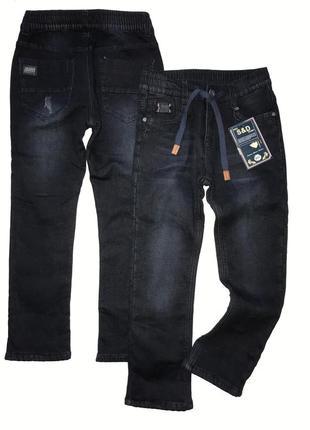 Утеплённые чёрные джинсы на флисе р. 8-12