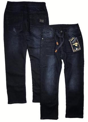 Утеплённые синие джинсы на флисе