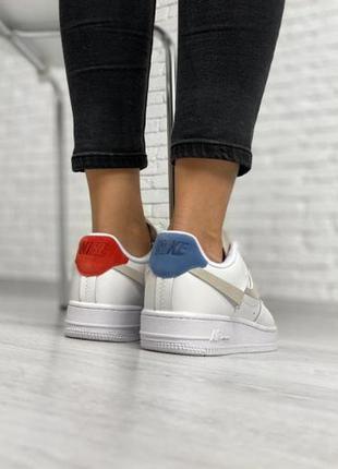 Nike air force 1 white red blue ✰ женские кожаные кроссовки ✰ ...