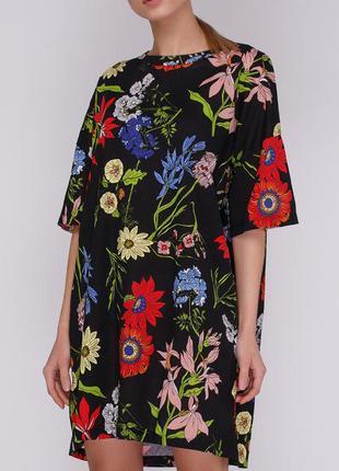 Хлопковое летнее платье футболка zara в цветы