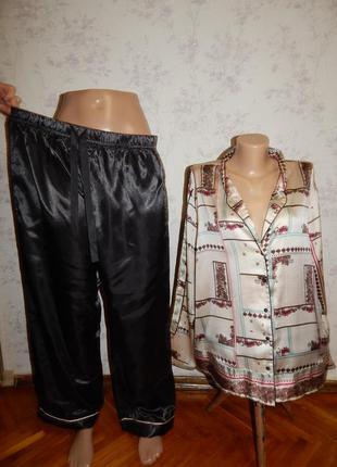 River island пижама скомбинированная атласная рубашка со штани...