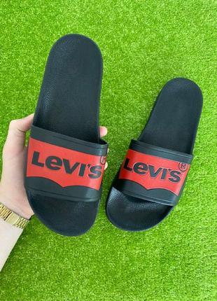 Шлепанцы levis шлепки тапки сланцы черные с красным лого