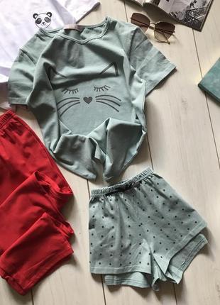 Хлопковая пижама шорты и футболка