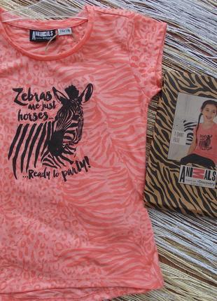 Коралловая футболка на девочку рост 110/116