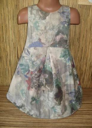 Нарядное платье в цветы на 5 лет