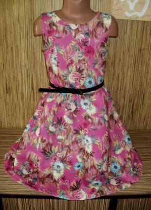 Платье с рисунком принт - цветы на 9-10 лет от yd