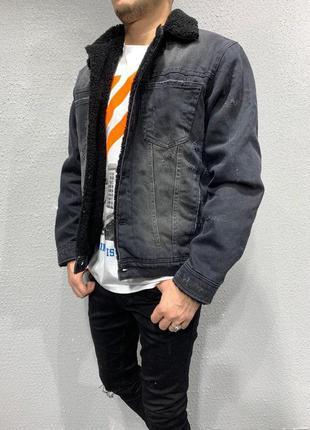 Крутая мужская джинсовка с мехом