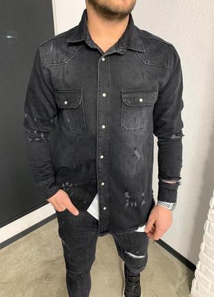Крутая мужская джинсовая куртка/рубашка