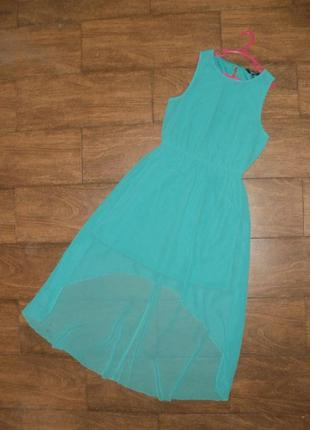 Шифоновое бирюзовое платье со шлейфом на 12-13 лет