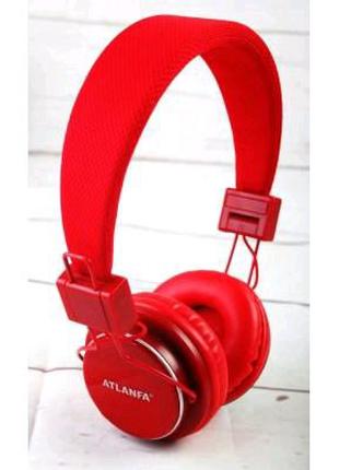 Беспроводные Bluetooth наушники Atlanfa AT-7611 Red c MP3 плеер,