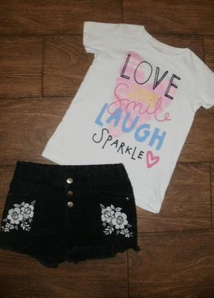Летний набор на 9-10 лет - футболка / шорты джинсовые с вышивкой