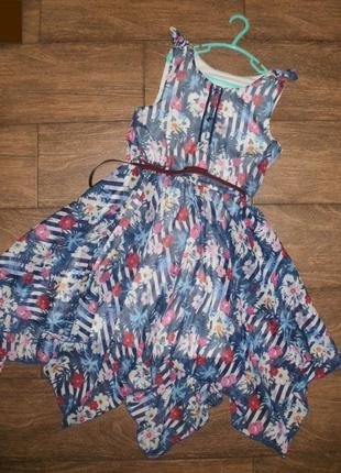 Летнее шифоновое платье на 11 лет с цветочным рисунком