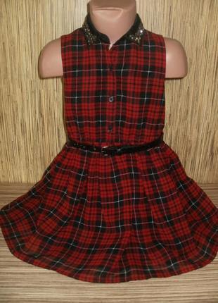 Стильное шифоновое платье в клетку на 4-5 лет